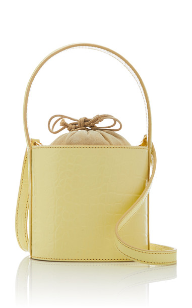 Staud Bissett Mini Croc-Effect Leather Bag in yellow