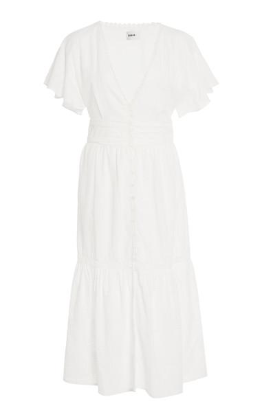 Suboo Estelle Button Front Midi Dress in white