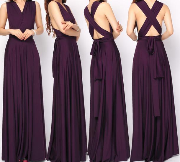 Dress Maxi Eggplant Infinity Dress Bridesmaid Wheretoget