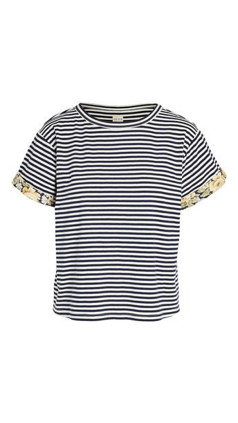 La Vie Rebecca Taylor Short Sleeve Striped Jersey in navy