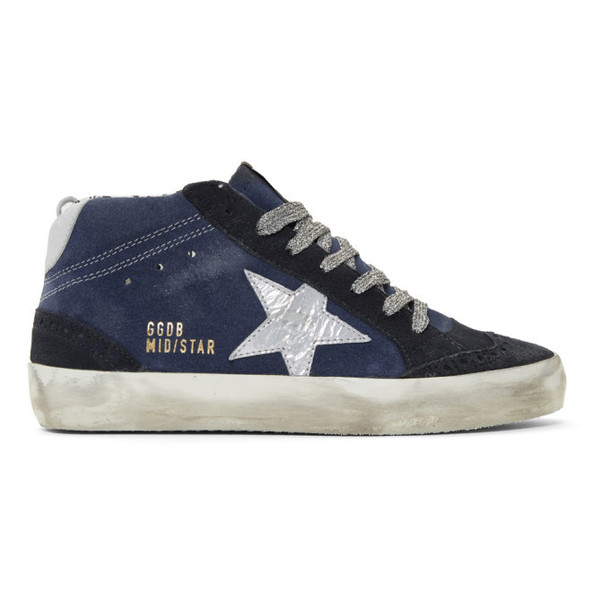 Golden Goose SSENSE Exclusive Indigo Suede Mid Star Sneakers