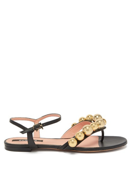 Rochas - Bead-embellished Leather Sandals - Womens - Black Gold