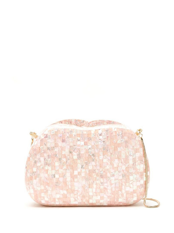 Isla mother of pearl clutch in pink