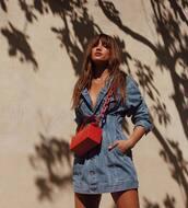 dress,rocky barnes,instagram,blogger,red,red purse,mini dress,denim dress