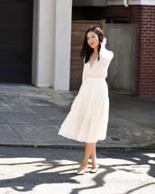 skirt,white skirt,midi skirt,mules,white cardigan