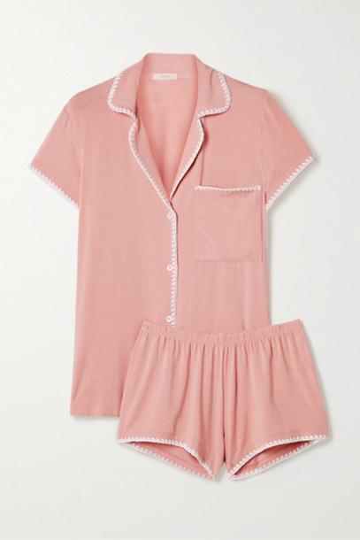 Eberjey - Frida Whipstitched Stretch-modal Jersey Pajama Set - Antique rose