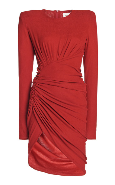Alexandre Vauthier Ruched Georgette Mini Dress in red