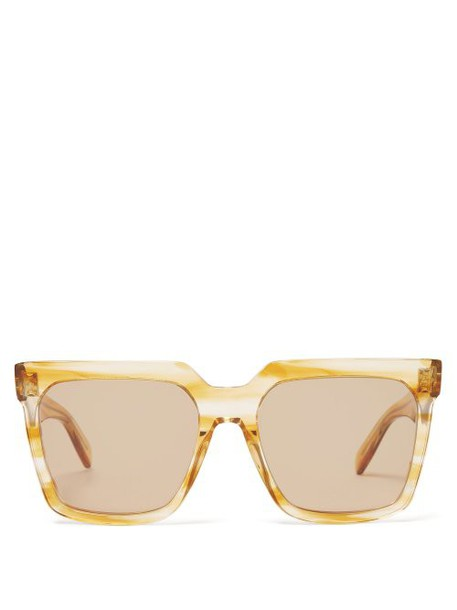 Celine Eyewear - Square Frame Acetate Sunglasses - Womens - Beige Multi