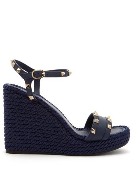 Valentino - Torchon Rockstud Leather Wedge Sandals - Womens - Navy