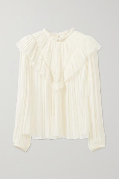 Chloé Chloé - + Net Sustain Pleated Wool-gauze Blouse - White