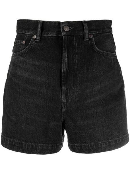 Acne Studios high-rise denim shorts in black