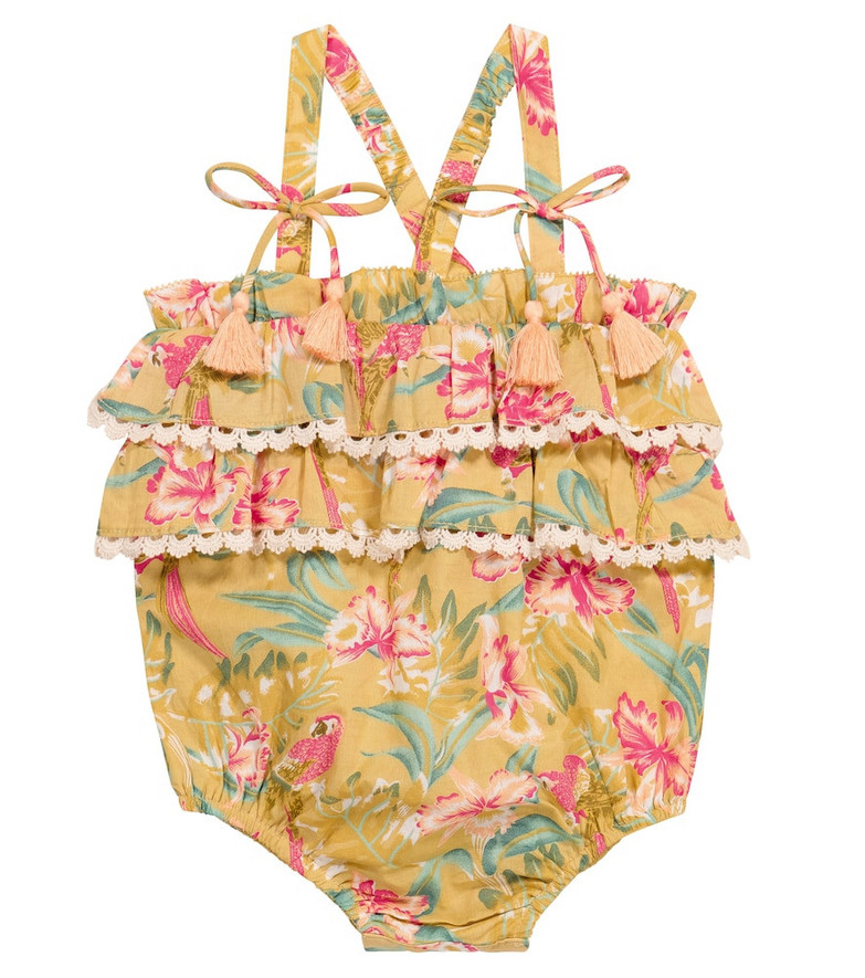 Louise Misha Baby Kumal floral cotton romper in yellow