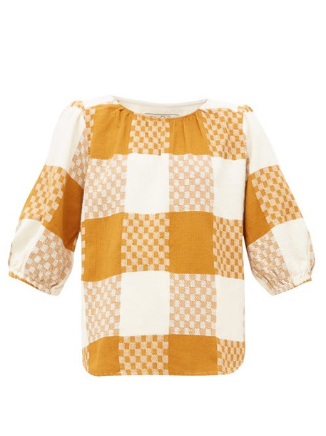 Ace & Jig - Goldie Balloon Sleeve Checked Cotton Blouse - Womens - Beige Multi