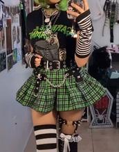 skirt,green,alternative,goth,grunge,skater,pleated skirt
