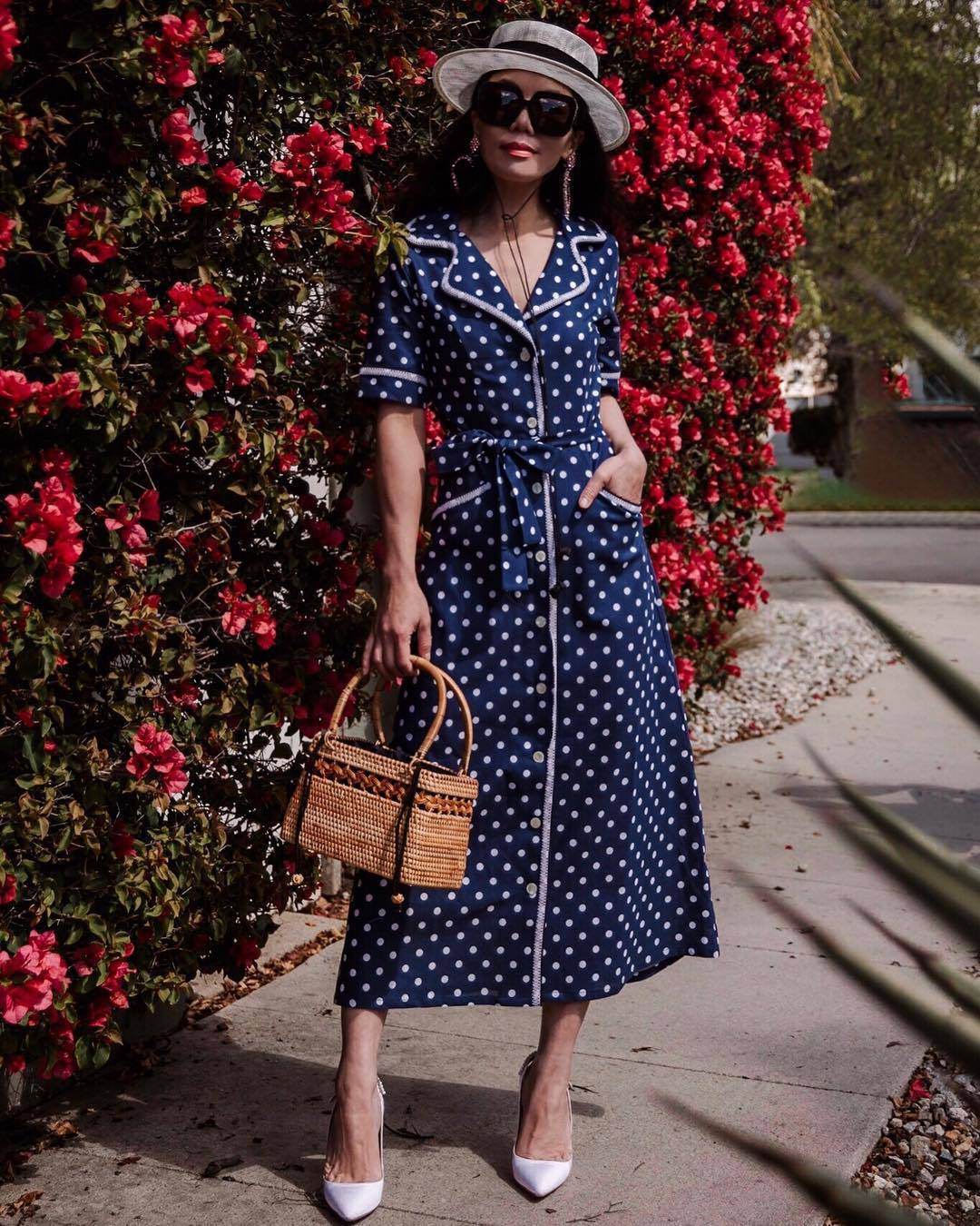 dress midi dress blue dress polka dots wood handbag pumps hat