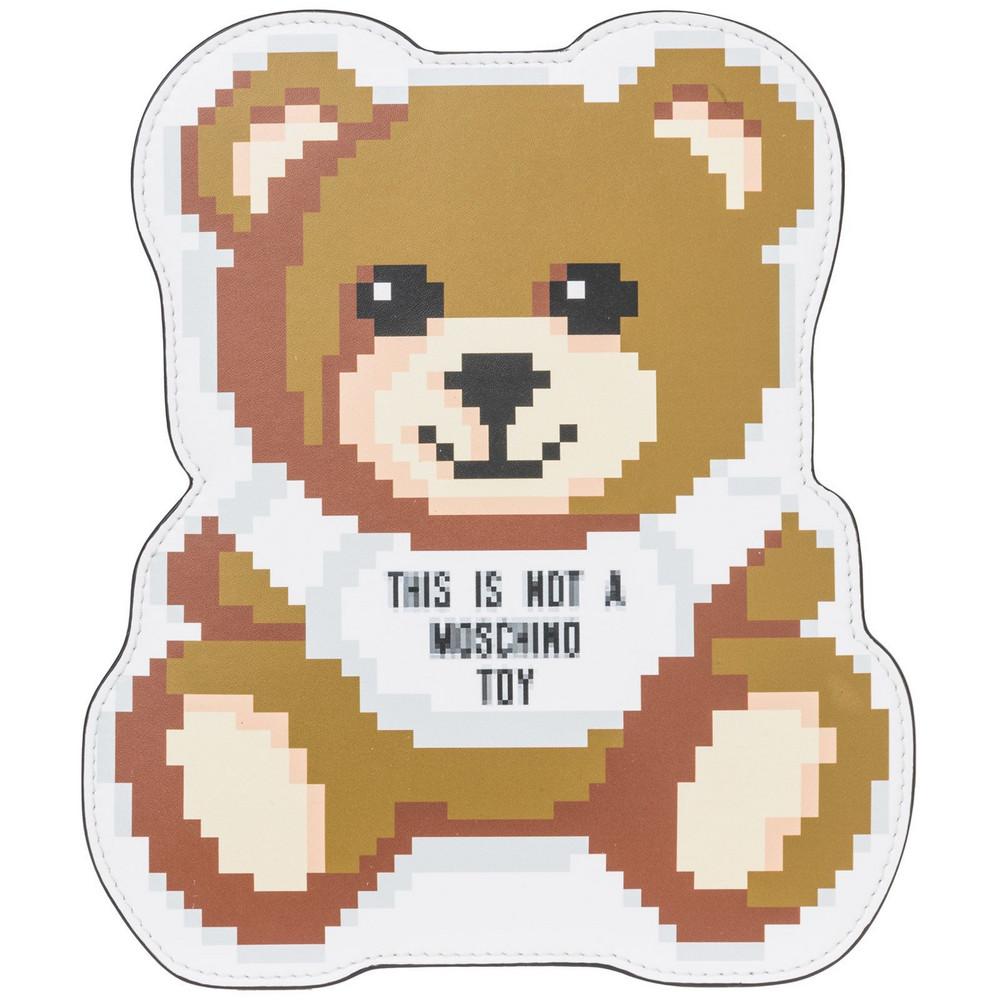 Moschino Leather Clutch Handbag Bag Purse Pixel Teddy Bear in bianco