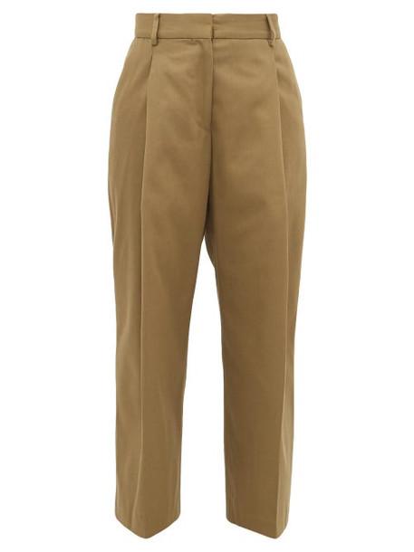 Margaret Howell - High Rise Cotton Blend Wide Leg Trousers - Womens - Khaki
