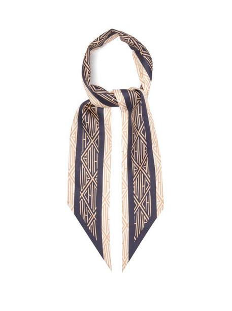 Chloé Chloé - Geometric-print Silk-twill Scarf - Womens - Navy
