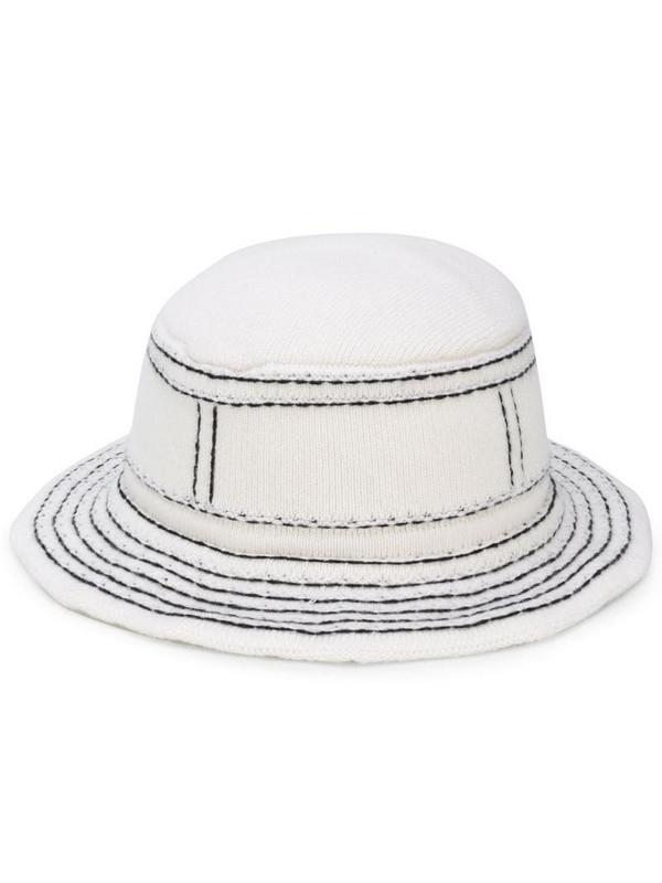 Barrie stitch detail bucket hat in white