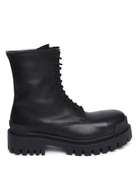 Balenciaga - Master Lug-sole Leather Ankle Boots - Womens - Black