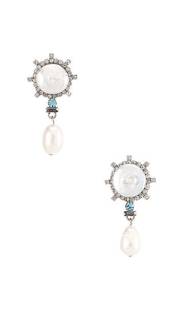 DANNIJO Rosita Blue Dangle Earrings in Metallic Silver