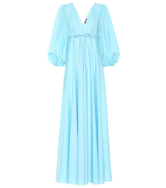 Staud Amaretti stretch-cotton maxi dress in blue