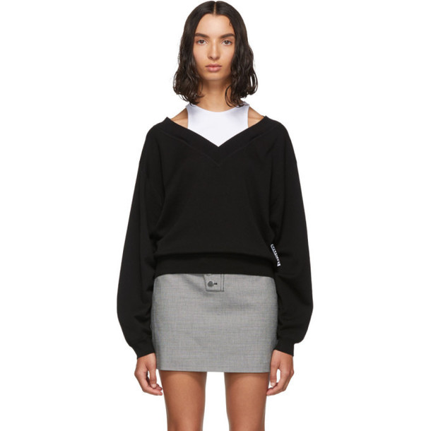 alexanderwang.t Black and White Cropped Bi-Layer V-Neck Sweater