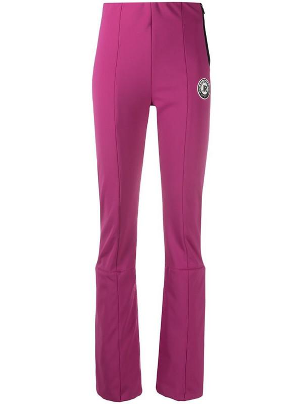 John Richmond logo-patch zipped trousers in pink