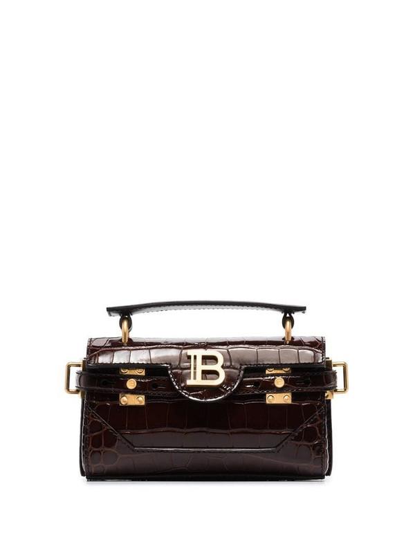 Balmain black B-Buzz 19 mock croc leather shoulder bag in brown