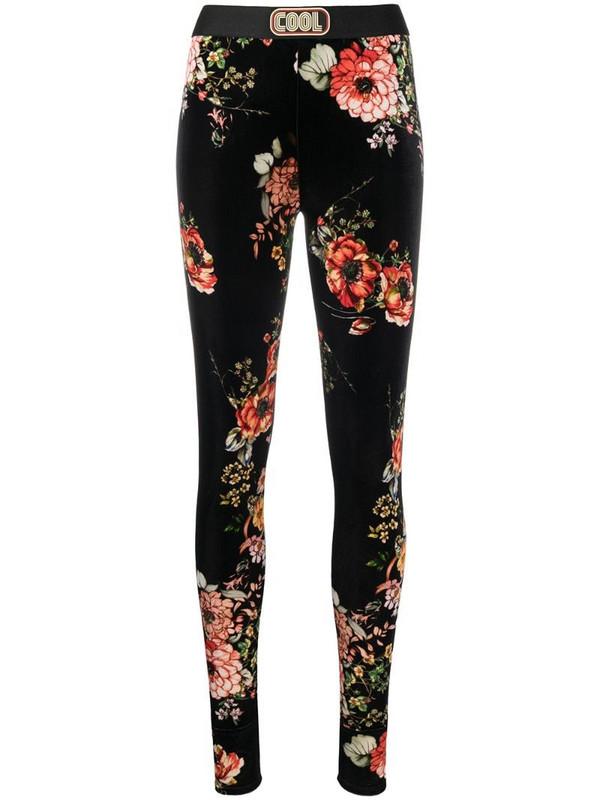 COOL T.M skinny floral velvet-effect leggings in black