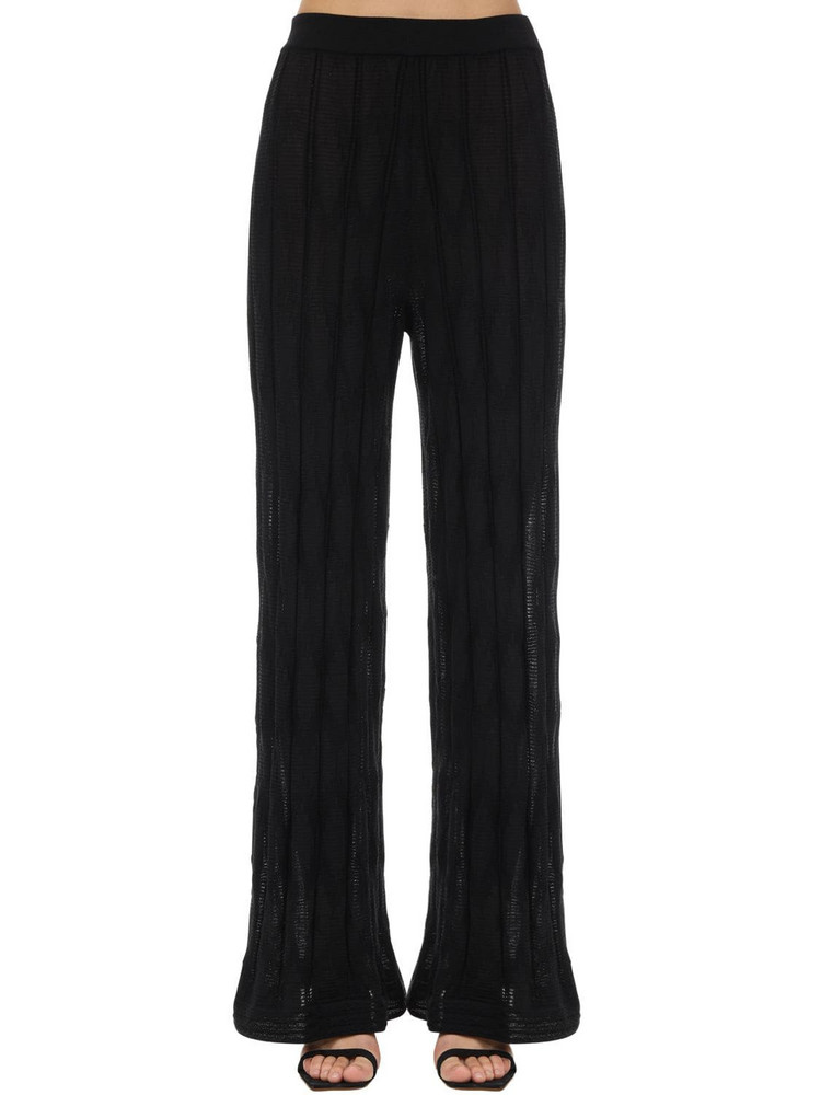 M MISSONI Flared Wool & Viscose Knit Pants in black