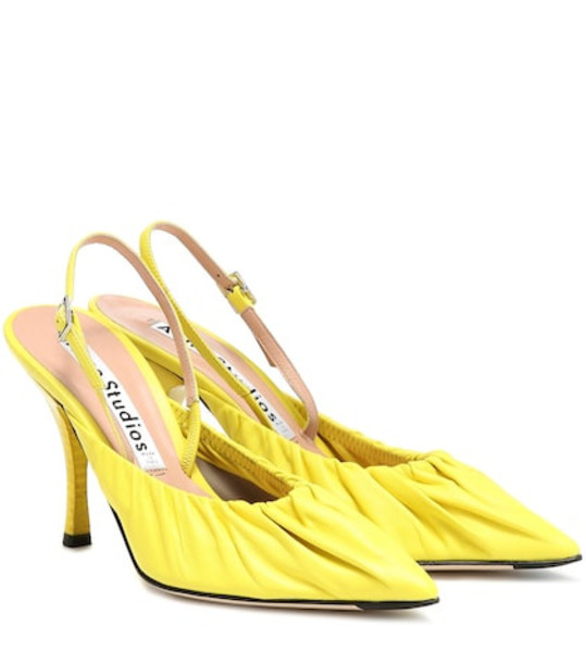 Acne Studios Leather slingback pumps in yellow