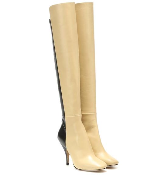 Petar Petrov Soekie leather knee-high boots in beige