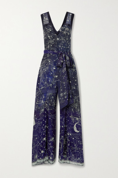 Camilla - Belted Satin-trimmed Printed Silk Crepe De Chine Jumpsuit - Midnight blue