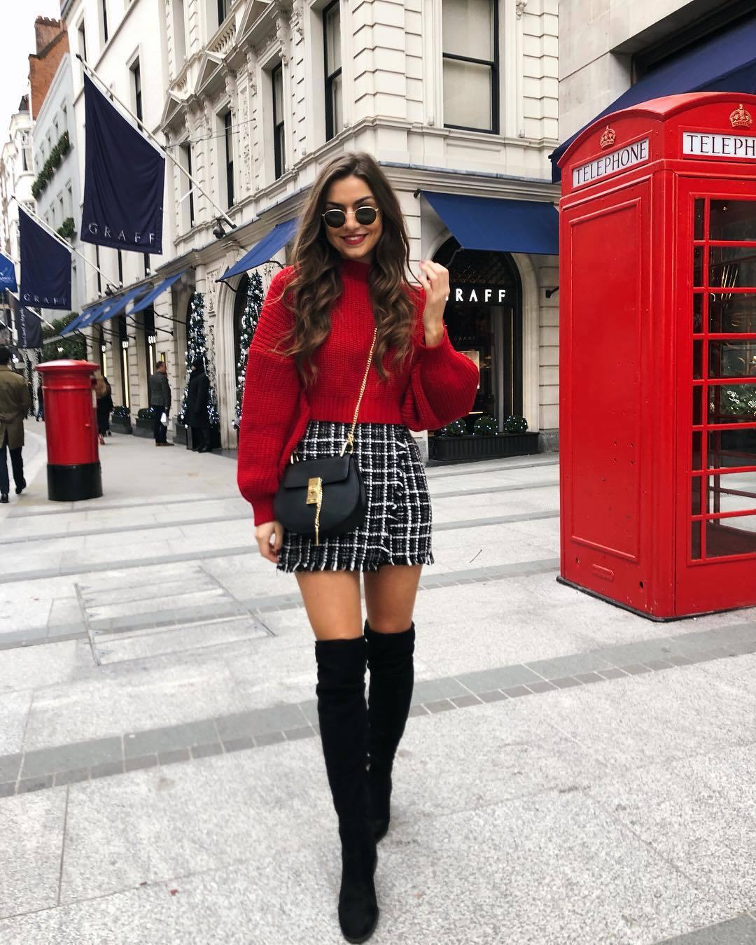 sweater red sweater over the knee boots mini skirt wrap skirt plaid skirt black bag crossbody bag
