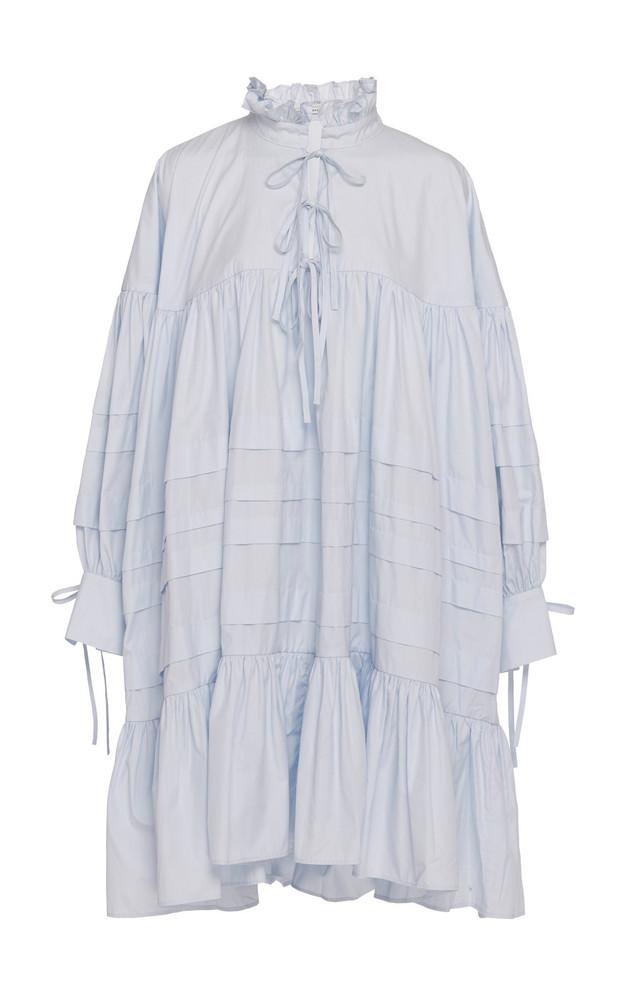 Cecilie Bahnsen Macy Ruffle-Trimmed Cotton-Poplin Dress Size: 6 in blue