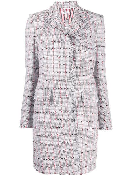 Thom Browne single-breasted tweed coat in grey