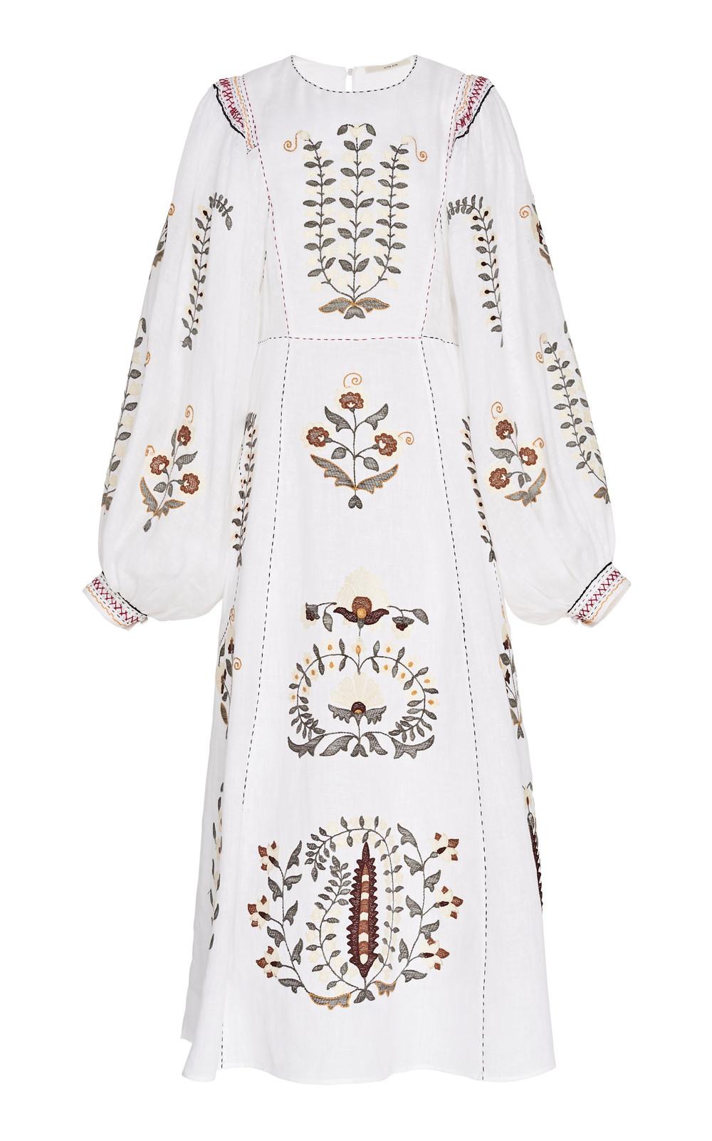 Vita Kin Patchouli Appliquéd Embroidered Linen Midi Dress Size: XS in white
