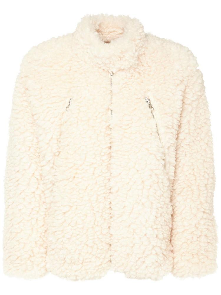 MM6 MAISON MARGIELA Faux Shearling Short Jacket in white