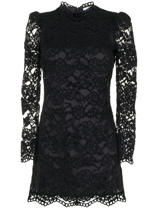 Likely Cupani cotton lace mini dress in black