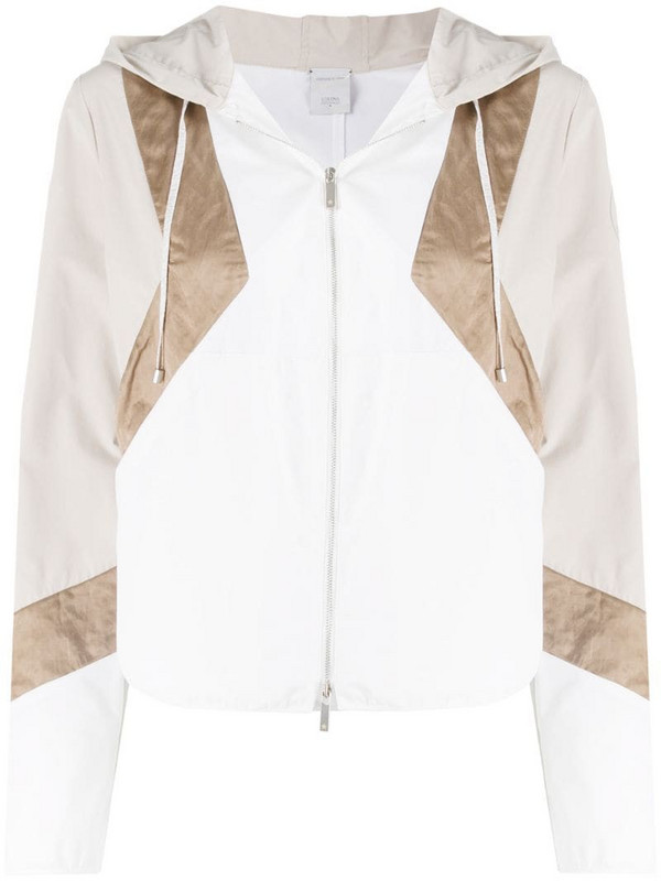 Lorena Antoniazzi geometric zip-up jacket in white