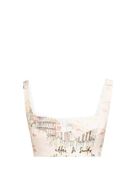 Emilia Wickstead - Ania Italy Print Cropped Top - Womens - Pink Print