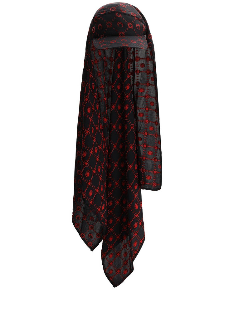 MARINE SERRE Printed Silk Scarf Cap in black