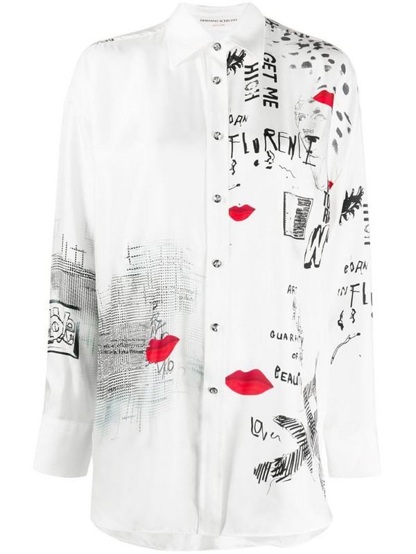 Ermanno Scervino mix-print satin shirt in neutrals