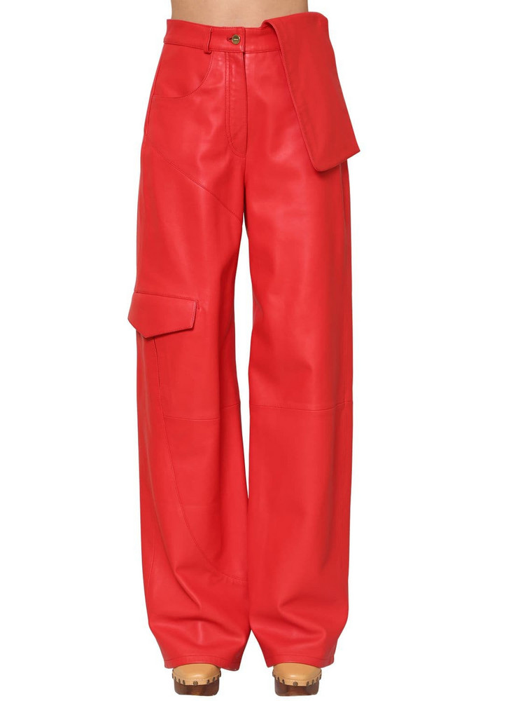JACQUEMUS High Waist Leather Cargo Pants in red