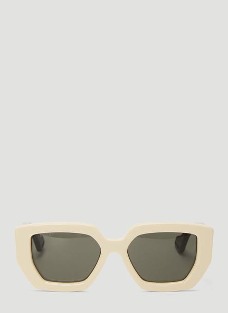 Gucci Square Acetate Sunglasses in White size One Size