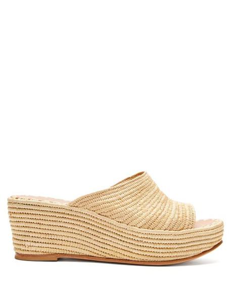 Carrie Forbes - Karim Raffia Flatform Sandals - Womens - Cream