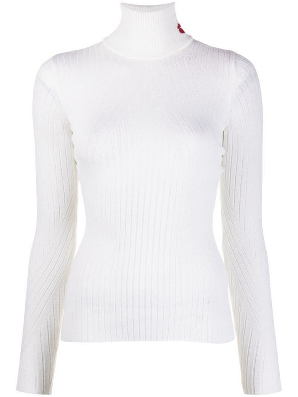 Lala Berlin ribbed knit roll neck jumper in white