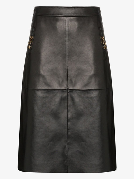 Gucci leather skirt with horsebit detail in black