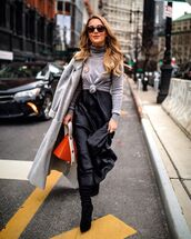 bag,brown bag,black boots,knee high boots,black dress,satin dress,maxi dress,grey turtleneck top,grey coat,sunglasses